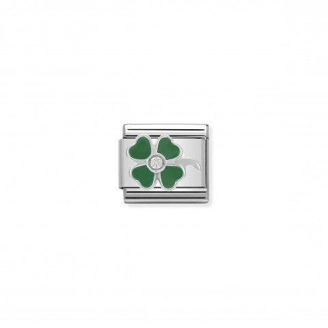 Link_Composable_Classic_in_Argento_Quadrifoglio_verde_con_pietra_Link_in_Argento_925,_Smalto_verde_e_pietre_Fortuna