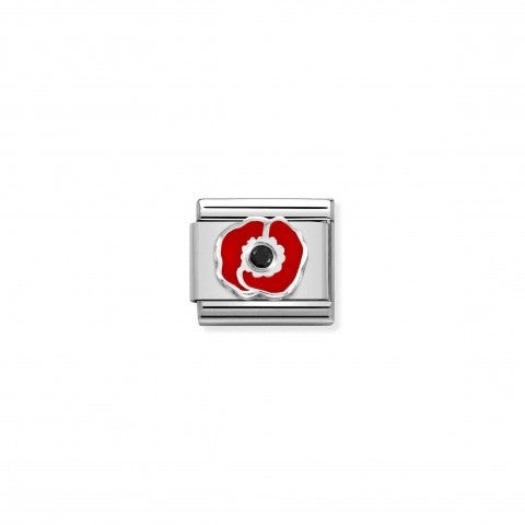 Composable_Link,_Red_Poppy_with_Black_CZ_Link_in_sterling_silver_with_enamel