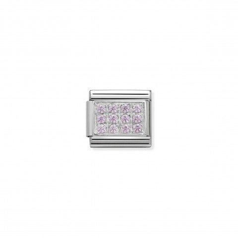 Composable_Classic_Link_in_Silver_and_pink_Stones_Stainless_steel_Classic_Link_In_silver_and_pink_Cubic_Zirconia