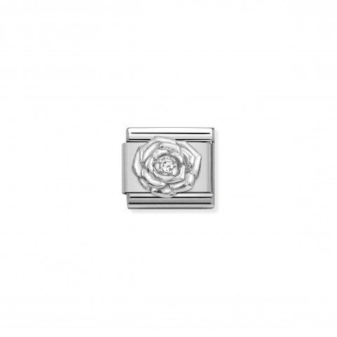 Composable_Classic_Link,_Silver_Rose_with_CZ_Link_with_Flowers_and_Cubic_Zirconia