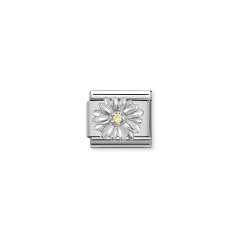 Composable_Classic_Link,_Silver_Daisy,_Yellow_CZ_Link_with_Flowers_and_yellow_stone