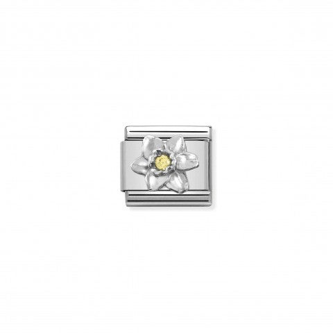 Composable_Link,_Silver_Daffodil,_Yellow_CZ_Link_with_Flower_and_Cubic_Zirconia