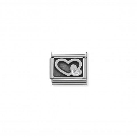 Composable_Classic_Link_Engraved_white_Heart_Stainless_steel_Link_Engraved_Heart_with_white_stone