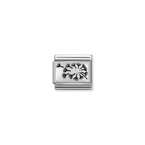 Composable_Link,_Silver_Dandelion_with_CZ_Link_in_oxidised_sterling_silver