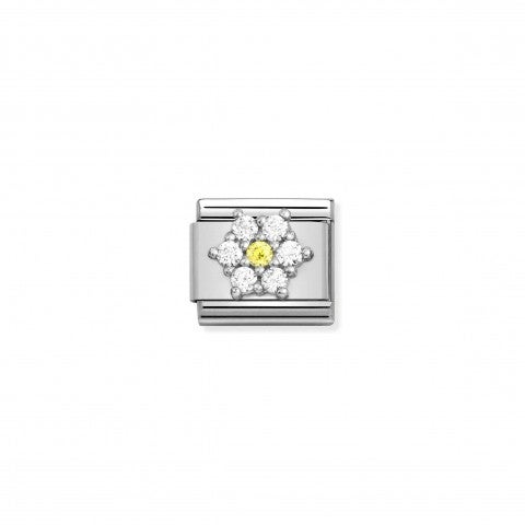Composable_Link,_Silver_Flower,_Coloured_CZ_Link_with_white_and_yellow_Flower