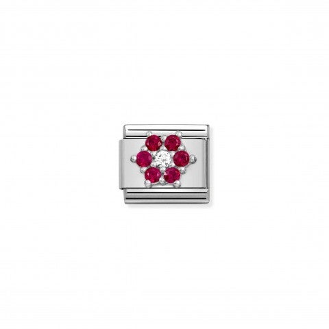 Composable_Classic_Link,_Silver_Flower_with_CZ_Link_with_white_and_red_Flower