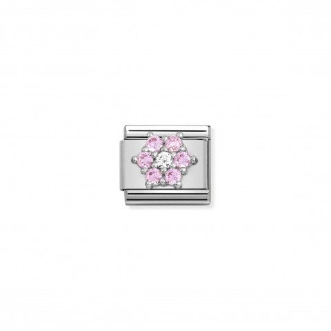 Composable_Classic_Link,_Flower_in_Silver_and_CZ_Link_with_white_and_pink_Flower