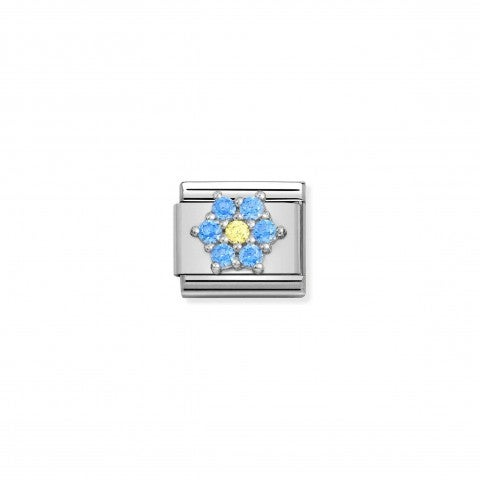 Composable_Classic_Link_with_Flower_in_sterling_Silver_Link_with_blue_and_yellow_Flower