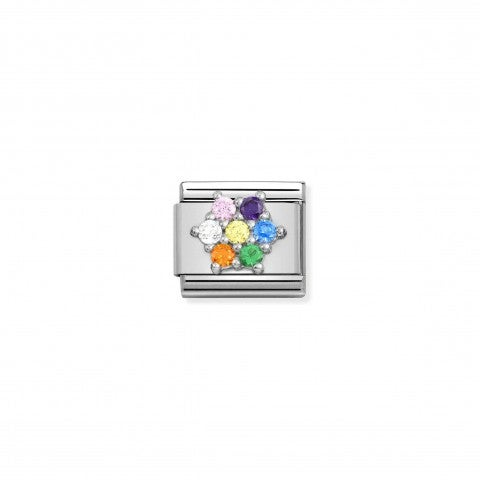 Composable_Link_with_Rainbow_Flower_in_Silver_Link_with_coloured_Cubic_Zirconia
