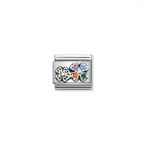 Composable_Link,_Rainbow_Four-Leaf_Clovers_Link_in_sterling_silver_and_stones