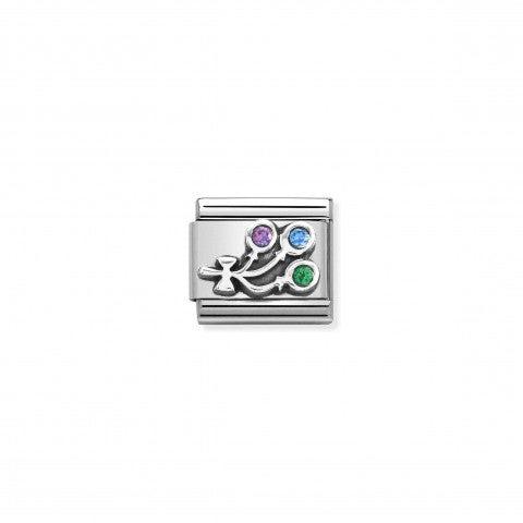 Link_Composable_Classic_Globos_Arcoíris_Link_en_Plata_con_Cubic_Zirconia