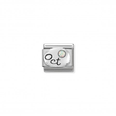 Composable_Classic_October_Link_in_Silver_Link_with_white_Opal