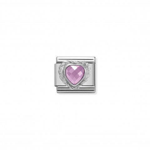 Link_Composable_Classic_in_Argento_Cuore_sfaccettato_rosa_Link_in_Argento_con_Cuore_sfaccettato