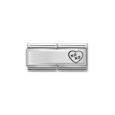 Classic_Composable_XO_XO_Heart_Double_Link_Inscribable_Link_in_Sterling_Silver_and_Enamel