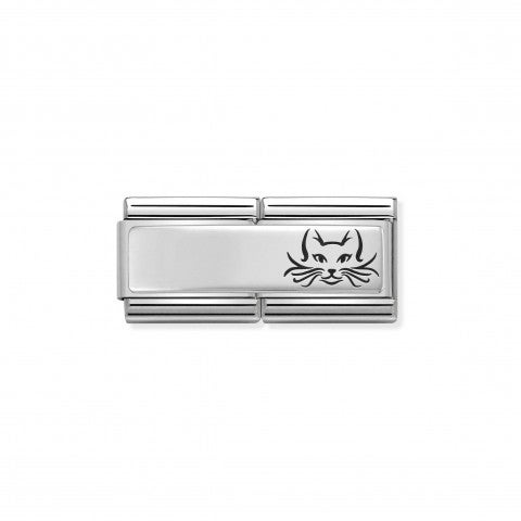 Classic_Composable_Double_Link_Cat_Link_for_Inscription_in_Sterling_Silver_and_Cat_in_Enamel