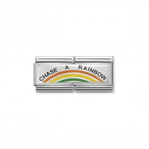 Link_doppio_composable_classic_Insegui_L'arcobaleno_Link_in_Argento_925_ossidato_e_Smalto_con_incisione_Chase_a_Rainbow