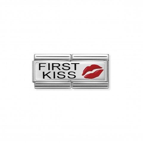 Link_doppio_composable_classic_Primo_Bacio_Link_in_Argento_925_ossidato_e_Smalto_con_incisione_First_Kiss