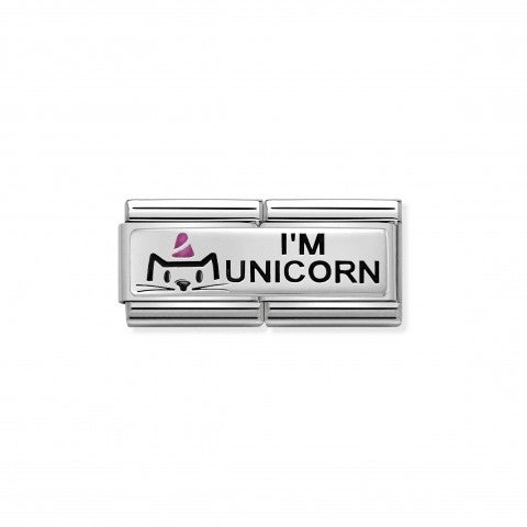 Link_doppio_composable_classic_Sono_un_Unicorno_Link_in_Argento_925_ossidato_e_Smalto_con_incisione_I'm_Unicorn