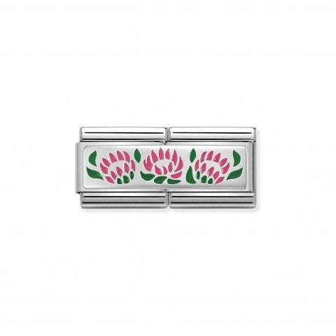 Composable_Classic_Double_Link_3_Flowers_Double_Link_for_Original_Composable_Classic_Bracelet_in_Stainless_Steel_with_3_Flowers_in_Silver_and_Enamel._Made_in_Italy._