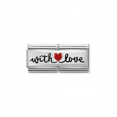 Composable_Double_Link_WITH_LOVE_with_Red_Heart_Double_Link_with_text_in_sterling_silver_and_red_enamel