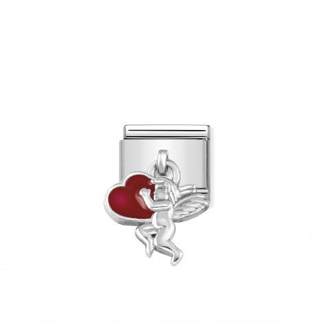 Link_Composable_Classic_Pendente_Cupido_in_Argento_Link_in_Argento_925_e_Smalto_con_Pendente_simbolo_fantasia_Cupido_e_Cuore_Rosso