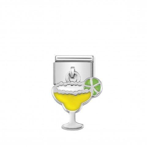 Link_Composable_Classic_Pendente_Cocktail_in_Argento_Link_in_Argento_925_e_Smalto_con_Pendente_Giallo_e_Verde_Cocktail