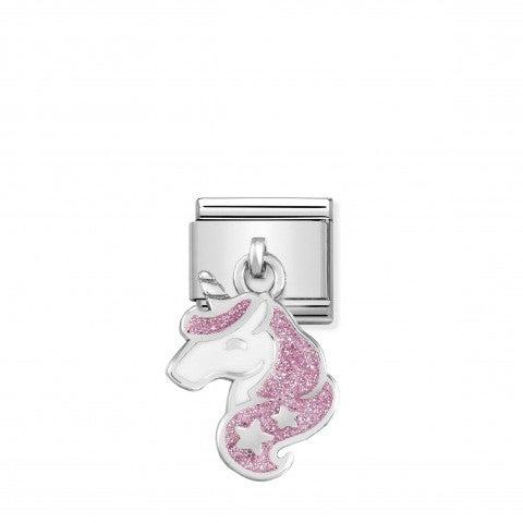 Link_Composable_Classic_Unicorno_Glitter_in_Argento_Link_in_Argento_925_e_Glitter_con_Pendente_Rosa_simbolo_fantasia