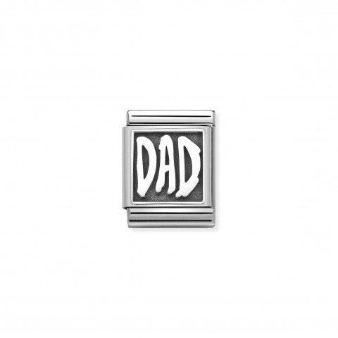 Link_Composable_Big_Scritta_Dad_nera_Link_con_scritta_ossidata_in_Argento_e_Acciaio