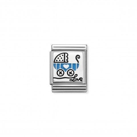 Link_Composable_Big_Carrozzina_azzurra_Link_con_carrozzina_neonato_in_Argento_e_Smalto