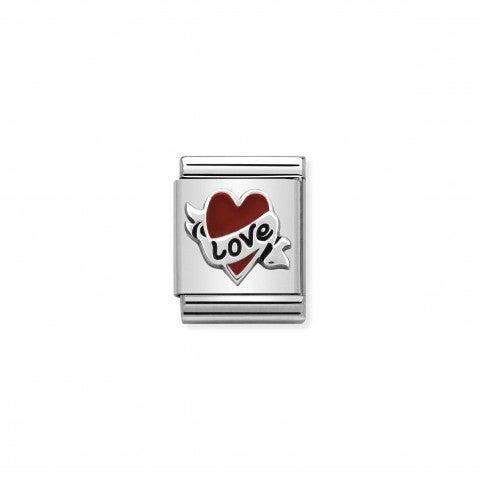 Link_Composable_Big_Cuore_con_nastro_love_Link_con_cuore_Big_in_Acciaio_e_Smalto_colorato