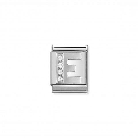 Link_Composable_Big_Lettera_E_in_Argento_e_Pietre_Link_in_Argento_925_e_Cubic_Zirconia_con_lettera_E
