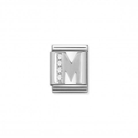 Link_Composable_Big_Lettera_M_in_Argento_e_Pietre_Link_in_Argento_925_e_Cubic_Zirconia_con_lettera_M
