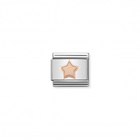 Link_Composable_Classic_Stella_in_Oro_rosa_375_Link_con_stella_incisa_in_Acciaio_e_Oro375