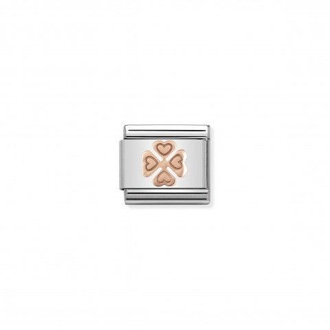 Link_Composable_Classic_Quadrifoglio_in_Oro_rosa_375_Link_con_simbolo_portafortuna_in_Acciaio_e_Oro_rosa