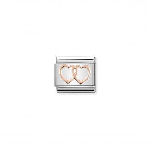 Link_Composable_Classic_Doubles_Cœurs_en_Or_rose_Link_avec_symbole_amour_en_Acier_et_Or_rose