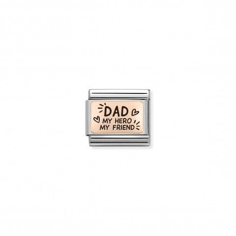 """Composable_Classic_Link_DAD_MY_HERO_in_Rosagold_Link_mit_Schrift_""""DAD_my_hero_my_friend""""_in_Rosagold"""