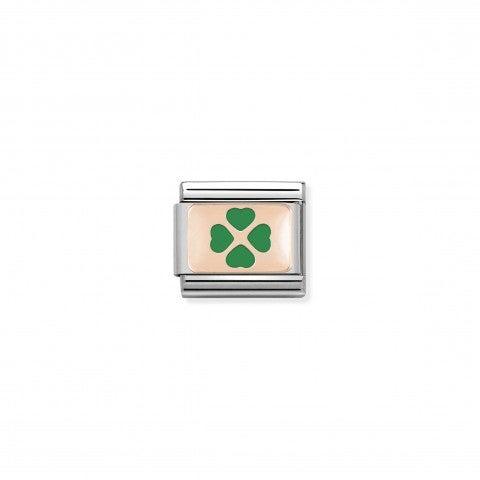 Link_Composable_Classic_Quadrifoglio_verde_in_Oro_rosa_Link_con_simbolo_quadrifoglio_in_Acciaio_e_Smalto_verde