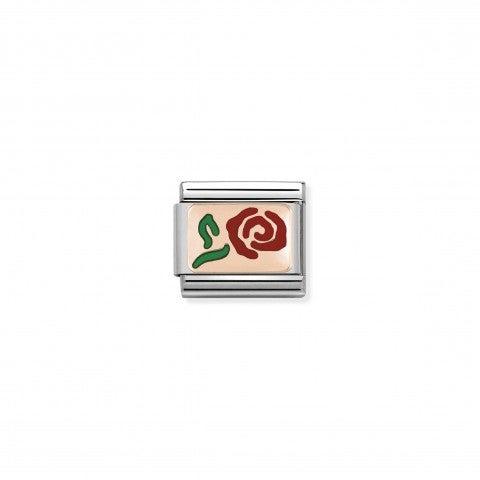 Link_Composable_Classic_Rosa_rossa_in_Oro_rosa_Link_con_tema_floreale_in_Smalto_Colorato_e_Acciaio