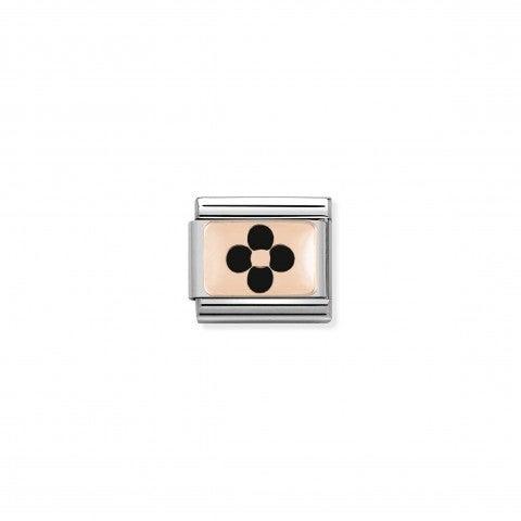 Composable_Classic_Link_Rose_Gold_black_Flower_Link_with_rose_gold_and_enamel_Flower_symbols