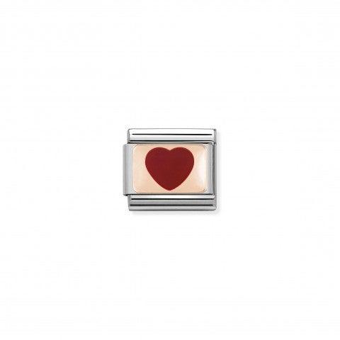 Link_Composable_Classic_Cuore_rosso_in_Oro_rosa_Link_con_simbolo_amore_in_Acciaio_e_Smalto_rosso