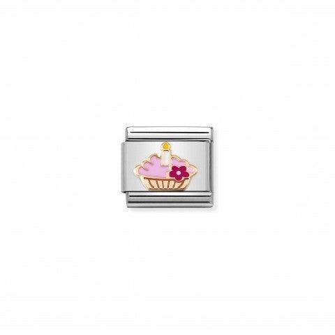 Link_Composable_Classic_Cupcake_con_vela_Link_en_Oro_rosa_375_y_esmalte_con_símbolo
