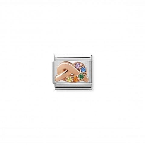 Composable_Classic_Link_Nodo_Amicizia_Link_in_acciaio,_oro_e_pietre_multicolor_Friendship