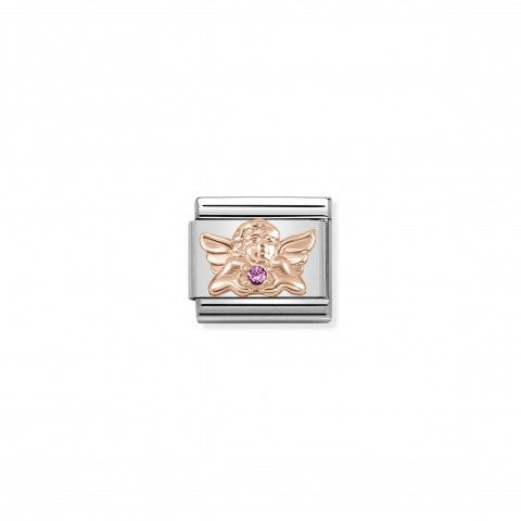 Classic_Composable_Friendship_Angel_Link_with_Stone_Link_in_Steel,_9k_Rose_Gold_and_Lilac_Swarovski_Zirconia