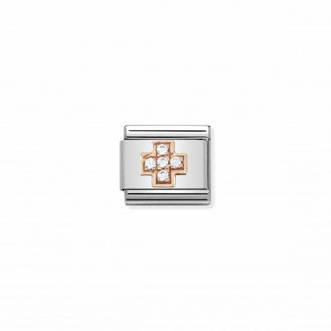 Composable_Classic_Link_Rosegold_Cross_with_Zirconia_Stainless_steel_Link_with_Cubic_Zirconia