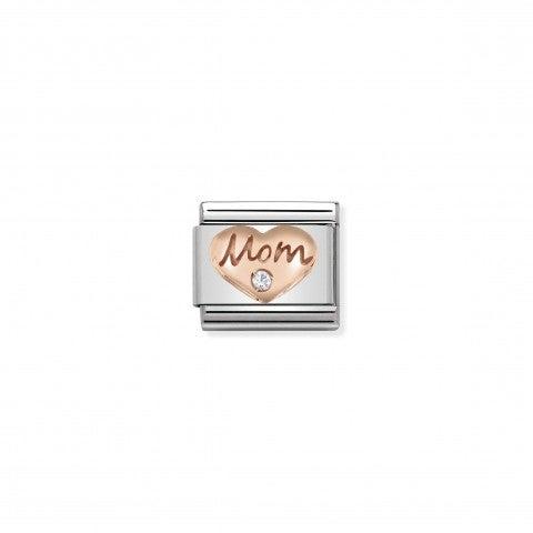 """Link_Composable_Classic_Cuore_con_Mom_e_Pietra_Link_con_scritta_""""Mom""""_in_Oro_Rosa_375_e_Cubic_Zirconia"""