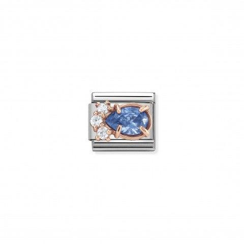 Link_Composable_Classic_Couture_Goccia_azzurra_Link_Couture_in_Oro_rosa_e_Cubic_Zirconia_azzurri