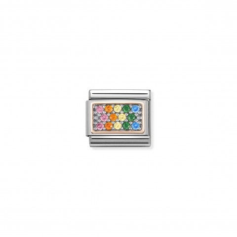 Link_Composable_Classic_Pierres_Arc-en-ciel_Link_en_Or_rose_375_avec_Zircons_colorés