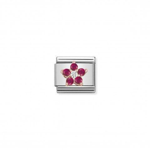 Link_composable_classic_Fiore_Rosso_Link_in_oro_rosa_375_e_Cubic_Zirconia_Rosso_e_Bianco_con_simbolo_floreale