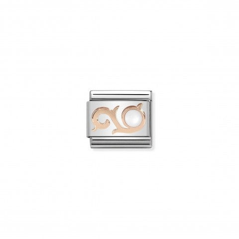 Composable_Classic_Link_9k_Rose_Gold_Curl_with_Pearl_Link_in_stainless_steel,_9K_Rose_and_mother_of_pearl
