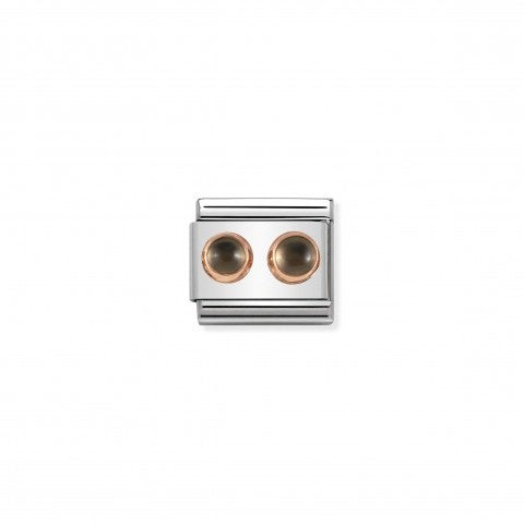 Composable_Classic_Link_symbol_with_Fumé_Quartz_Link_in_steel_and_details_in_9K_rose_gold_with_Quartz